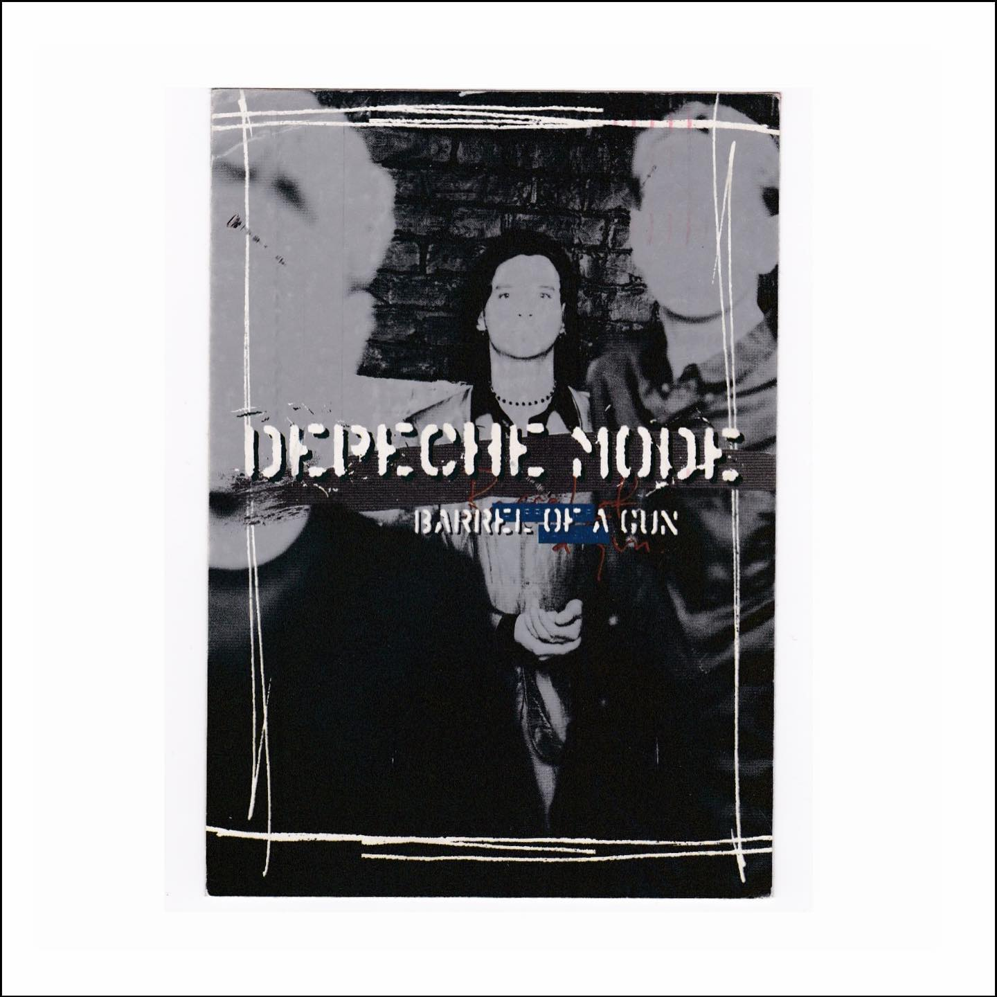 'Barrel Of A Gun' Postcard, Depeche Mode (1997)   From the days when bands sent postcards to announce their new releases, by Second Class delivery. Note the phone number on the rear where you could 'Hear It Now' for 45p a minute. #depechemode #postcard
